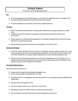 EYFS Behaviour Management Policy