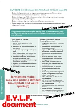 Copy n Paste: Early Years Learning Framework Outcomes, Principles and Practices