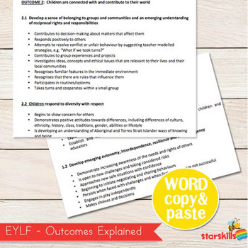 EYLF - Early Years Learning Framework Word Document (Copy & Paste)