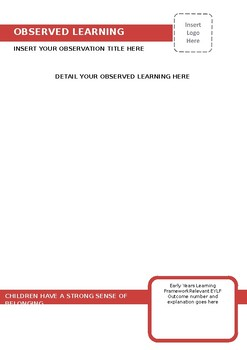 EYLF Outcome One Learning Story Template