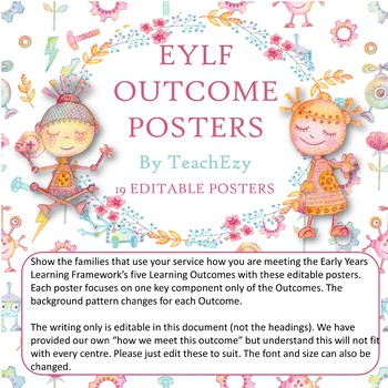 EYLF Posters Robot Design for Early Childhood EDITABLE