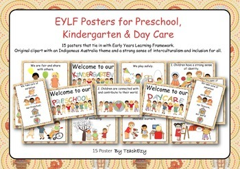 EYLF Posters with Indigenous Australia Theme