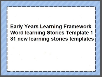 EYLF Word Learning Stories Template 1