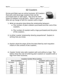 EZ Coasters - Writing Linear Functions
