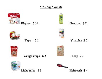 EZ Drug Store Ad Math Worksheet