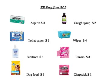 EZ Drug Store Ad Math Worksheet 2