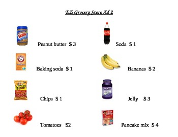EZ Grocery Store Ad Math Worksheets 2
