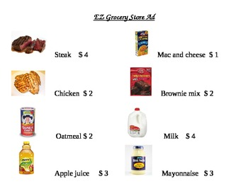 EZ Grocery Store Ad Math Worksheets