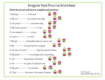 EZ Speech Irregular Verb Cupcake Matchup