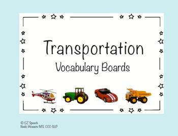 EZ Speech Vocabulary Boards- Transportation