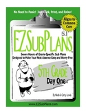 EZSubPlans: Fifth Grade, Day 1: Great for Home Instruction