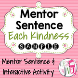 Each Kindness: Free Mentor Sentence & Interactive Activity #kindnessnation