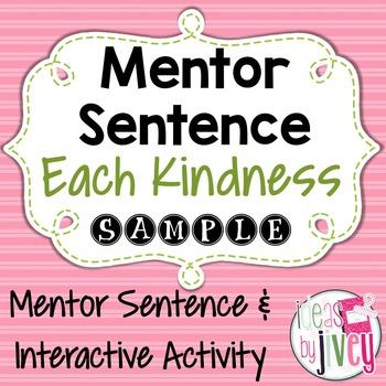 Each Kindness: Free Mentor Sentence & Interactive Activity #kindnessnation