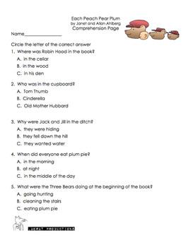 Each Peach Pear Plum Literacy Pack