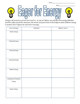 Eager for Energy: A graphic organizer for different energy forms