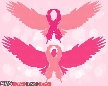 Eagle Breast Cancer birds Feathers SVG clipart swirl ribbon Props Faith -521s