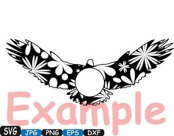 Eagle Circle Frame birds Jungle Animal mascot Flower SVG school Clipart zoo 379s