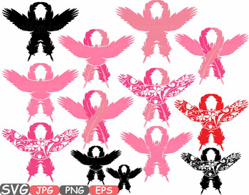 Eagle Flower Breast Cancer birds Feathers clipart wirl Props ribbon hope -520s