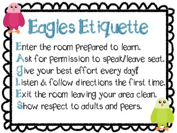 Eagles Etiquette Classroom Rule Poster FREE from Teaching Ambrosia