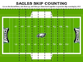 Eagles Football Skip Counting by Tens