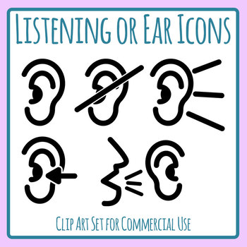Ear or Listening Icons Clip Art Set for Commercial Use