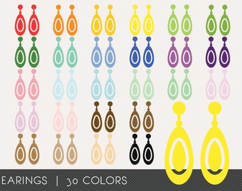 Earings Digital Clipart, Earings Graphics, Earings PNG, Rainbow Earings Digital