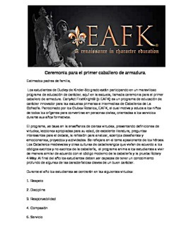 Early Act First Knight Parent Letter-Spanish