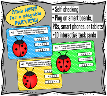 Early Addition Math Boom Cards 0-5 Ladybug Math Task Cards