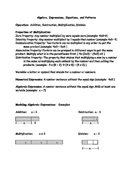 Early Algebra Notes and Worksheet
