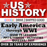 Early America to World War I US History First Semester Bundle