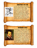 Early American Explorer Mini Biography Cards