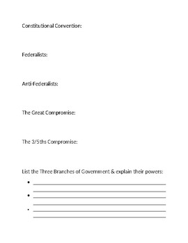 Early American Gov't & Constitution Homework Definitions I