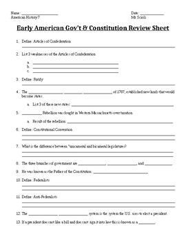 Early American Gov't & Constitution Review Sheet