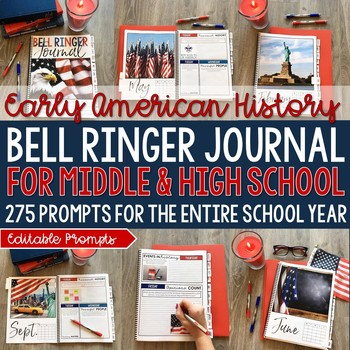 Early American History Bell Ringer Journal for Entire School Year: 275 Prompts