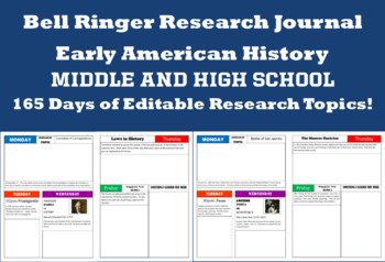 Early American History Bell Ringer Research Journal