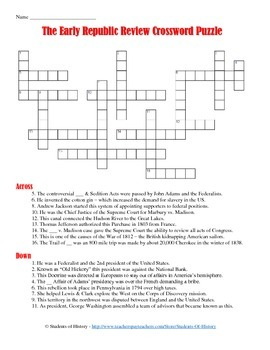 Early American History Crossword Puzzle