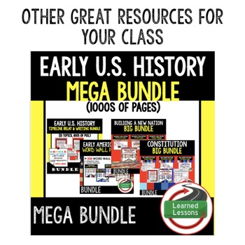 Early American History Pacing Guide, Goes with American History Mega Bundle