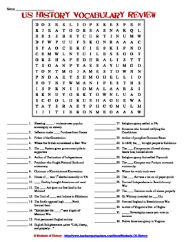 Early American History Vocabulary Word Search Review