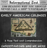 Early American Settlements--Informational Text Worksheet