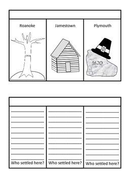 Early American Settlements 3-Flap Flip Book