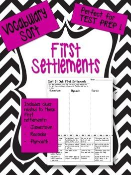 Early American Settlements Vocabulary Word Sort: Jamestown, Roanoke, Plymouth