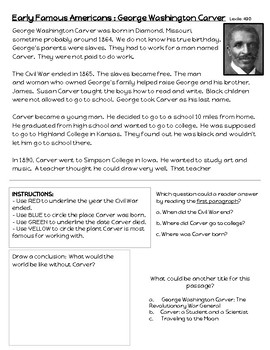 Early Americans : George Washington Carver Close Reading Passage