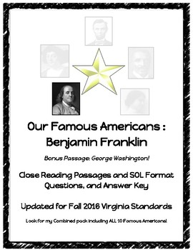 Early Americans : Benjamin Franklin Close Reading Passage