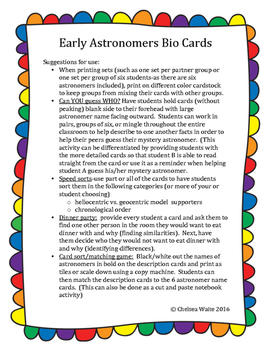 Early Astronomers Bio Cards