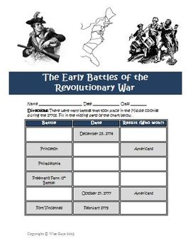 Early Battles Revolutionary War Printable and Map Activity ...