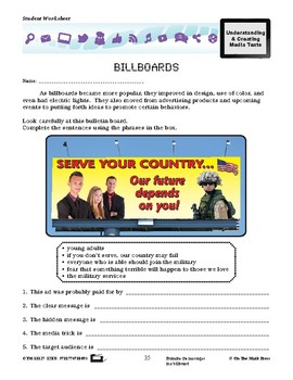 Early Billboards Lesson Plan Grades 4-6 - Aligned to Common Core