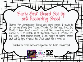 Early Bird Board Set-Up