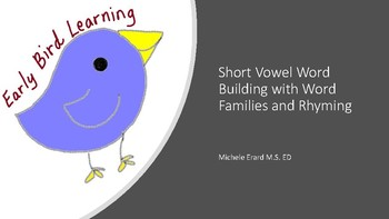 Early Bird Learning Short Vowel Word Building, Word Families and Rhyming
