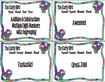 Early Bird Task Cards:  Multiple-Digit Addition and Subtraction with Regrouping