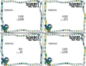 Early Bird Task Cards:  Subtracting Across Zeros